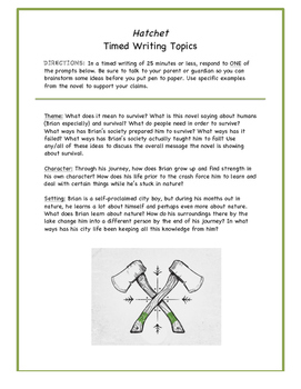 Hatchet Timed Writing Prompt