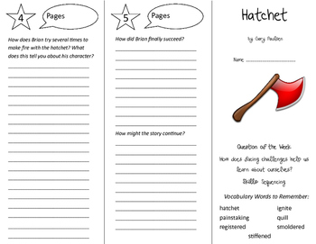 Hatchet Trifold - Reading Street 6th Grade Unit 3 Week 1