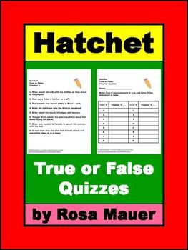 Hatchet True or False Chapter Quizzes