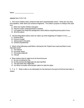 Hatchet Unit Plan - Common Core
