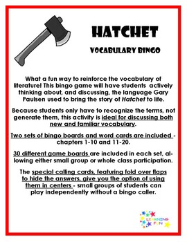Hatchet teaching resources teachers pay teachers hatchet vocabulary bingo hatchet vocabulary bingo fandeluxe Image collections