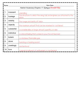 Hatchet Vocabulary Chapter 17- Epilogue