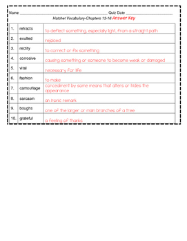 Hatchet Vocabulary- Chapters 13-16