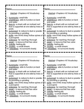 Hatchet Vocabulary-Chapters 4-8