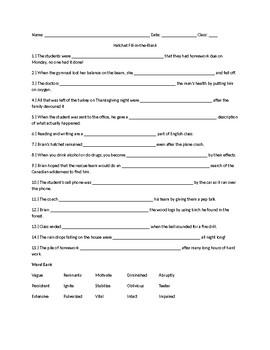 Hatchet Vocabulary Practice