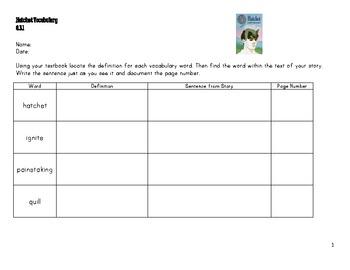 Hatchet Vocabulary Sheet