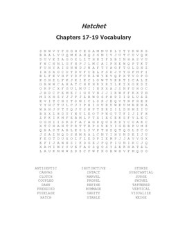 Hatchet Vocabulary Word Search for Chapters 17-19