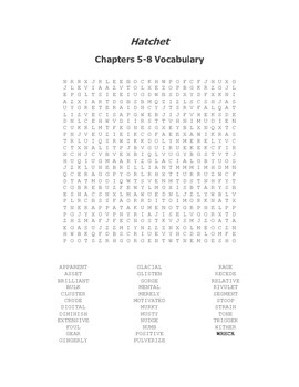 Hatchet Vocabulary Word Search for Chapters 5-8