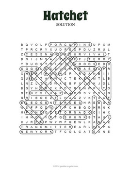 Hatchet Word Search Puzzle