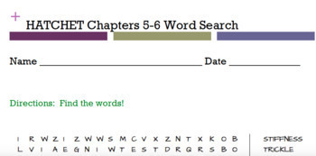 Hatchet by Gary Paulsen Word Searches BUNDLE