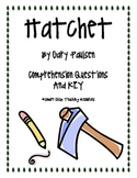 """""""Hatchet"""", by G. Paulsen, Comprehension Questions and KEY"""