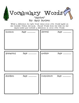 """Hatchet"", by G. Paulsen, Vocabulary Word Packet"