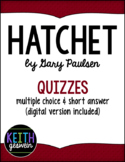 Hatchet by Gary Paulsen: 10 Quizzes (Distance Learning)