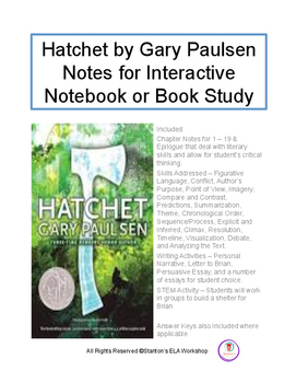Hatchet by Gary Paulsen Chapter Guide & Book Study