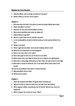 Hatchet by Gary Paulsen - Close Reading Questions