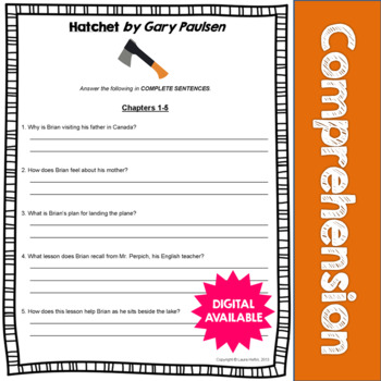 Hatchet by Gary Paulsen Comprehension Questions- Common Core- 4th, 5th, 6th