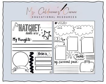Hatchet by Gary Paulsen Doodle Notes Book Review Activity