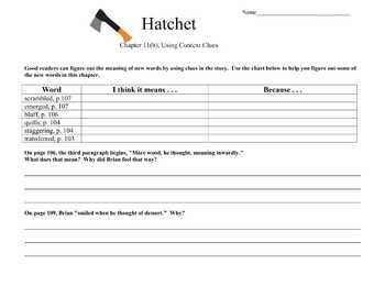 Hatchet by Gary Paulsen Novel Study Reading and Writing Skills Bundle