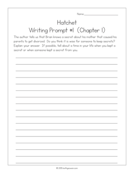 Hatchet by Gary Paulsen Power Pack: 19 Journal Prompts and 10 Quizzes