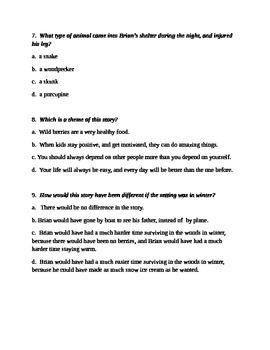 Hatchet by Gary Paulsen Quiz over chapters 1-10