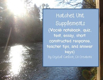 Hatchet Novel Resource Guide {Quiz, Test, Essay, Vocab, Activities--CCSS}