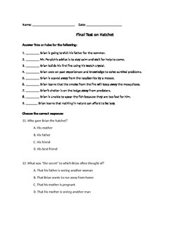 Hatchet by Gary Paulsen questions 18-end and final test