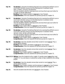 Hatchet by Gary Paulson Novel Study Unit Plan