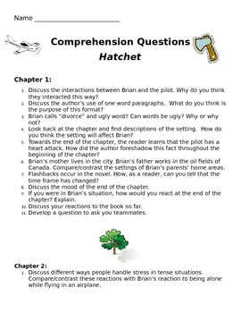 Hatchet teaching resources teachers pay teachers hatchet by gray paulsen comprehension questions common core aligned fandeluxe Image collections