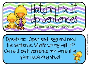 Hatchin' Fix It Up Center: A Sentence Correction Center