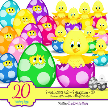 Hatching Chicks in Polka Dot Eggs Clipart