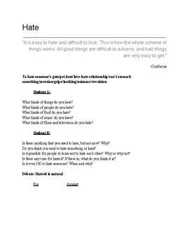 Hate ESL Discussion Questions