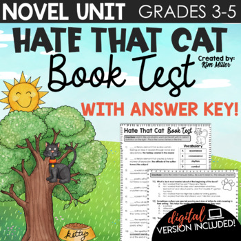 Poetry Unit: Hate That Cat Book & Vocabulary Test
