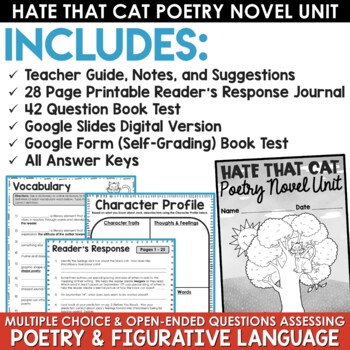 Hate That Cat Reader's Response Journal, Poetry Pack, and Book Test *BUNDLE*
