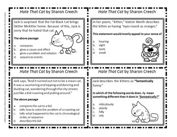 Hate That Cat Reading and Writing Task Cards