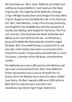 Hatfield–McCoy feud Handout