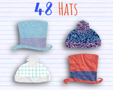 Hats Clip Art - 48 Top Hats and Bobble Hats with Real Pape