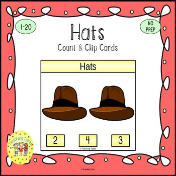 Hats Count and Clip Task Cards
