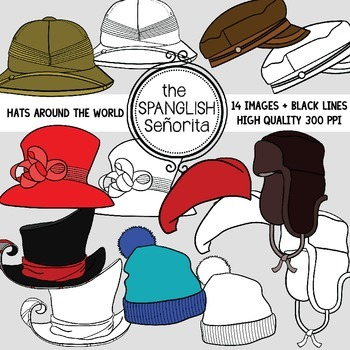 Hats From Around the World {Clip Art for Commercial Use}