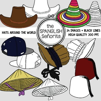 Hats From Around the World  Clip Art for Commercial Use   714f1fdbdd6
