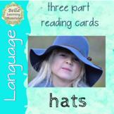 Montessori 3 Part Reading Cards  - Hats