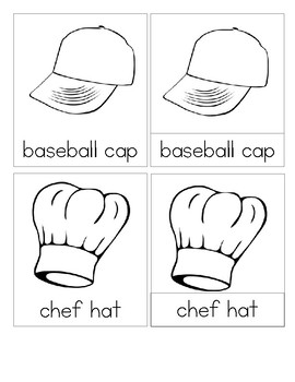 Hats - Montessori  3 Part Reading  Cards  - Set 3  Color It!
