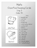 Montessori  3 Part Reading  Cards  - Hats - Set 3  Color It!
