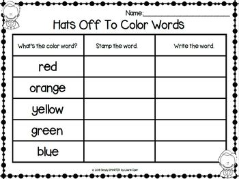 Hats Off To Color Words:  NO PREP Color Word Rubber Stamp Activities