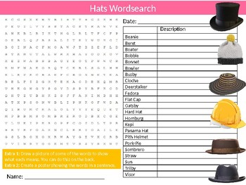 Hats Wordsearch Puzzle Sheet Starter Activity Keywords Textiles Clothes