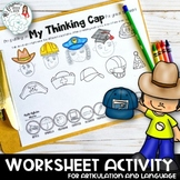 Hats and Caps: A Speech and Language No-Prep Worksheet Activity
