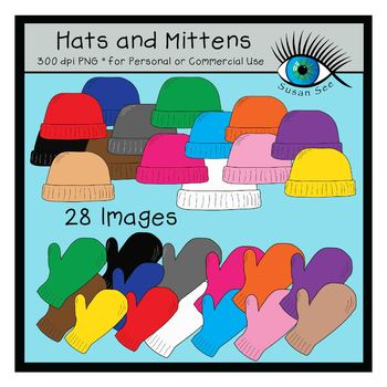 Hats and Mittens Clip Art (for Personal or Commercial Use)