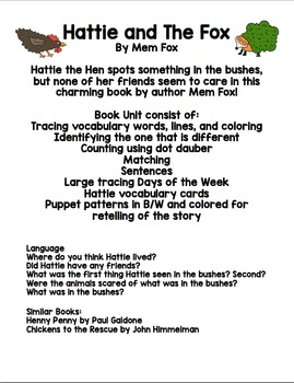 Hattie and the Fox by Mem Fox- Book Unit