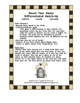 Haunt Your House Halloween Letter/Word/Phrase Game