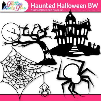 Haunted Halloween Clip Art {Great for Worksheets & Handouts) B&W