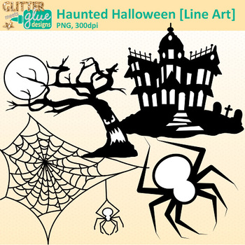 Haunted Halloween Clip Art | Great for Worksheets & Handouts | B&W